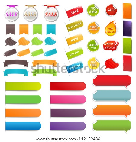 Set Speech Bubble Labels, Isolated On White Background, Vector Illustration - stock vector