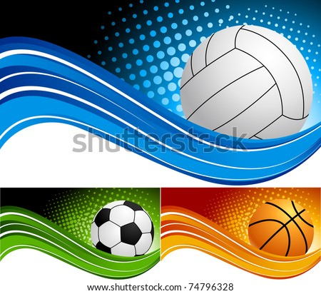 Set sport background - stock vector