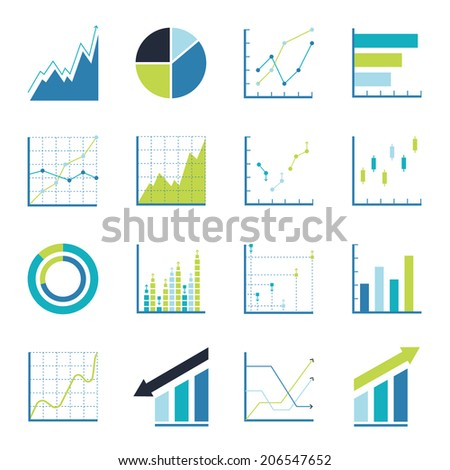 Set statistics icon. Graphic analysis and asset management. Information chart profits. Business efficiency and investment. finance data - stock vector