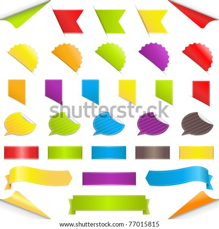Set Stickers, Isolated On White Background, Vector Illustration