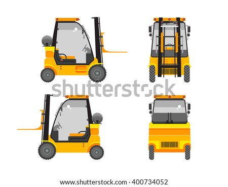 Set stock vector illustration isolated loader front, side, back view in flat style white background Element for site, infographics, video, animation, websites, e-mails, newsletters, reports, comic - stock vector