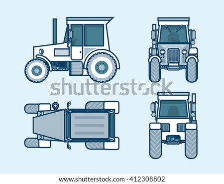 Set stock vector illustration isolated tractor top, front, side, back view line style blue background Element for site, info graphic, video, animation, website, e-mail, newsletter, report, comic, icon - stock vector