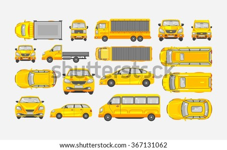 Set stock vector illustration yellow car hatchback, delivery truck, light truck with trailer, minibus, sedan top, front, side view flat style gray background Element infographic, website, icon - stock vector