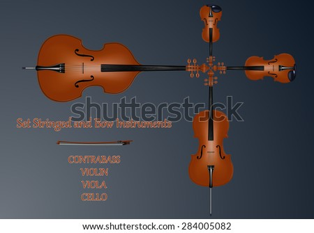 Set stringed and bow instruments. Kontrabbas, cello, viola, violin and bow brown color. Blue background. Realistic vector illustration. - stock vector