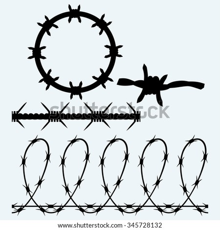 Set sumbol barbed wire. Isolated on blue background. Vector silhouettes - stock vector