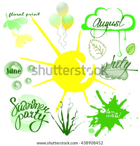 Set Summer Time June July August Stock Vector 2018 438908452