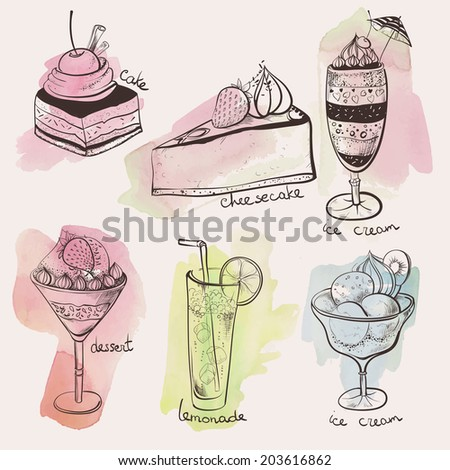 set, sweets, delicious dessert sweets, - stock vector