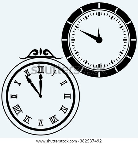 Set symbol clock. Isolated on blue background. Vector silhouettes - stock vector