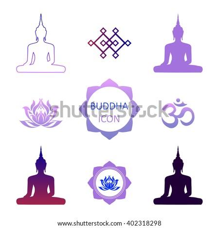 Set Symbols Buddhism Vector Illustration Flat Stock Vector 402318298