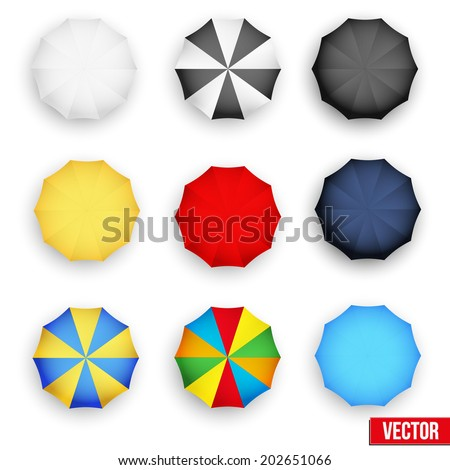Set symbols of rain umbrellas. Seasons objects parasol. Vector Illustration. Isolated on white background. - stock vector