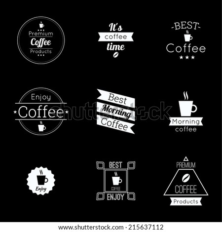 Set tags with ribbons and labels. banner with coffee, grain and inscriptions. for menu, restaurant, cafe, bar, coffeehouse - stock vector