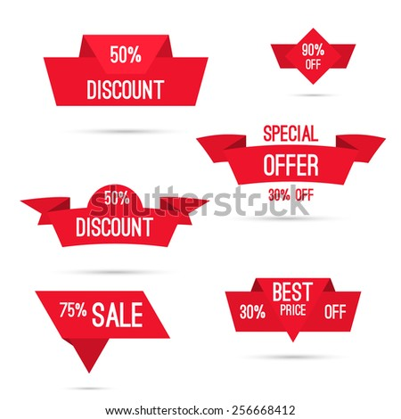 Set tags with ribbons and labels. special offer, discount and percentages, price, 25, 30, 75 % banner - stock vector