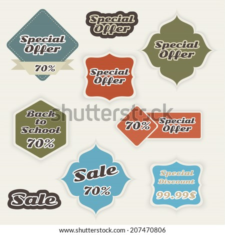 Set tags with ribbons and labels. special offer, discount and percentages, price. banner - stock vector