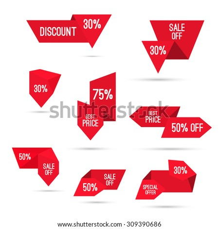 Set tags with ribbons and labels. special offer, discount and percentages, price off, banner. Black Friday, back to school, Christmas discounts. - stock vector