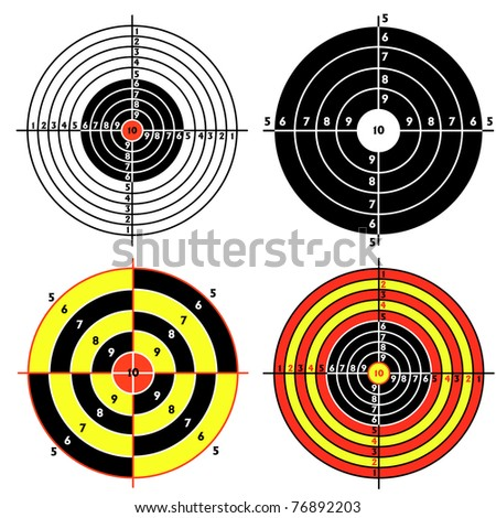 Set targets for practical pistol shooting, exercise. Vector illustration - stock vector