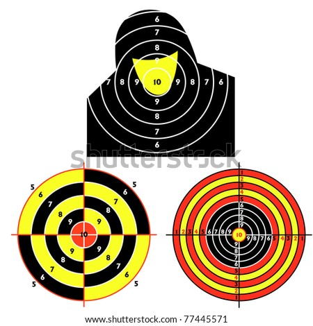 Set targets for practical pistol shooting, exercise. Vector illustration