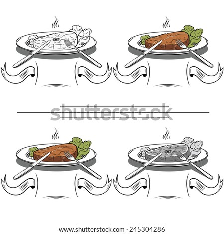 set tasty Grilled Steak and Green lettuce on a plate-Illustration - stock vector