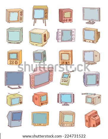 Set Televisions, vintage, vector illustration - stock vector