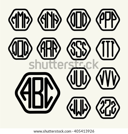 Letter a monogram stock images royalty free images vectors set 2 template letters to create a monogram of three letters inscribed in a hexagon in pronofoot35fo Images