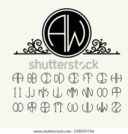 Set  template letters to create monograms of two letters in scribed in a circle in Art Nouveau style - stock vector