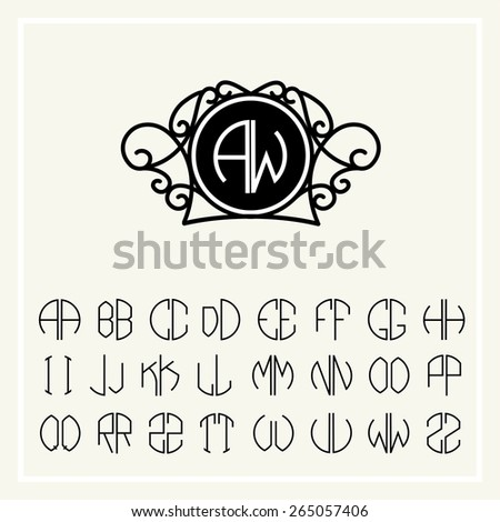 set template letters to create monograms of two letters in scribed in a circle in art