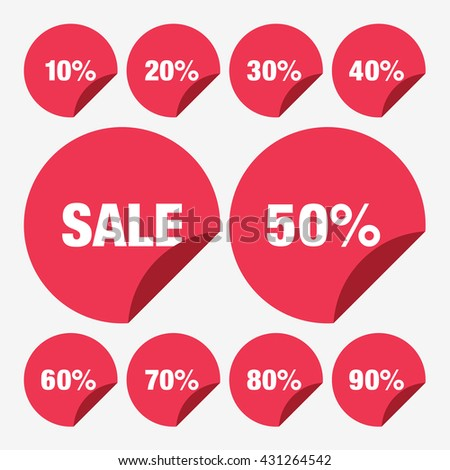 Set Template Yellow Sale Tag Vector Stock Vector