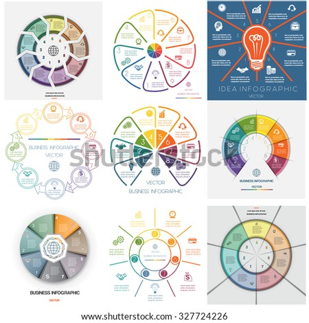Set 9 templates. Infographics for business conceptual cyclic processes on seven, eight, nine  positions possible to use for work flow, banner, diagram, web design, time line, area chart - stock vector