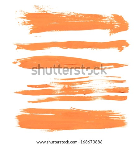 Set texture orange paint smears on white background 30 - stock vector