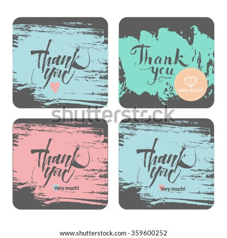 Set thank handwritten illustration. Beautiful cards with inscriptions - stock vector