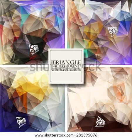 Set the Multicolor Design Templates. Geometric Triangular Abstract Modern Vector Background.  - stock vector