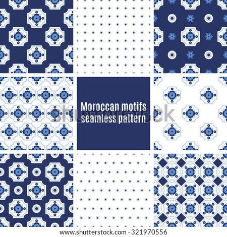 Set the Portuguese azulejo tiles. Seamless patterns. For scrapbooking, wallpaper, cases for smartphones, web design, print. - stock vector