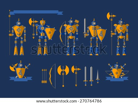 Set. The robot knights. Elements for illustration and design. Shield, sword, helmet, bow, arrows, dagger, flag, axe, armor. - stock vector