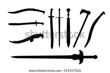 Set the Sword, Swords, Ax, Machete. Vector Illustration. EPS10 - stock vector