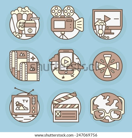 Set the video icons. - stock vector