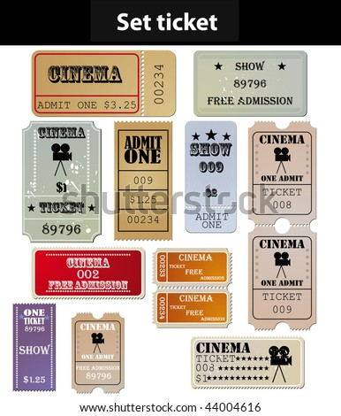 set: tickets in different styles - stock vector