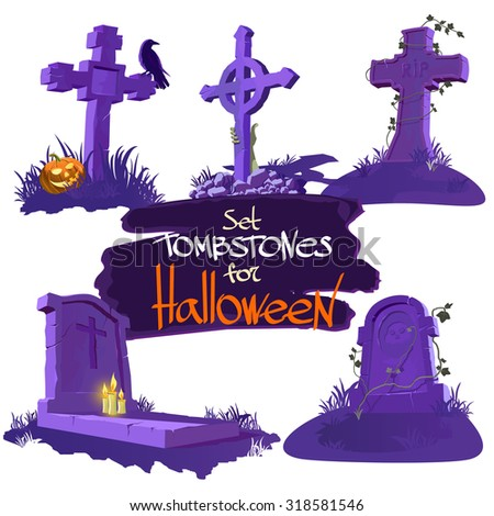 set tombstones for halloween - stock vector