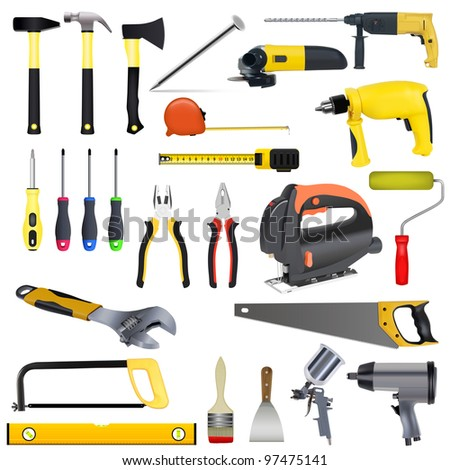 set tools on a white background - stock vector
