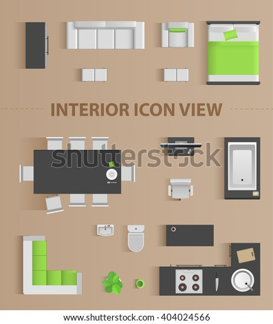 Set top view for interior icon design. Isolated Vector Illustration. Flat interior top view icon - stock vector