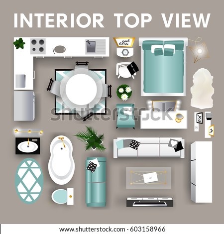 Interior top view young women teen stock vector 603158969 for Elements of interior design