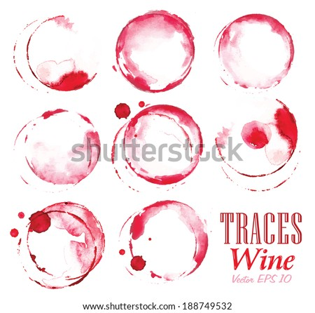 Set traces glass draw pour wine splashes and spot print. - stock vector
