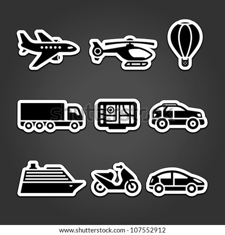 Set transportation icons stickers - stock vector