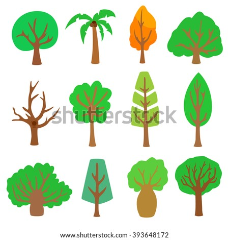 Set trees. Green trees with branches on a white background. Wood of different colors