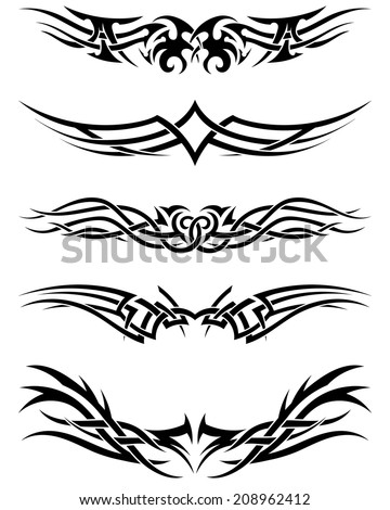 Set tribal tattoos. EPS 10 vector illustration without transparency. - stock vector