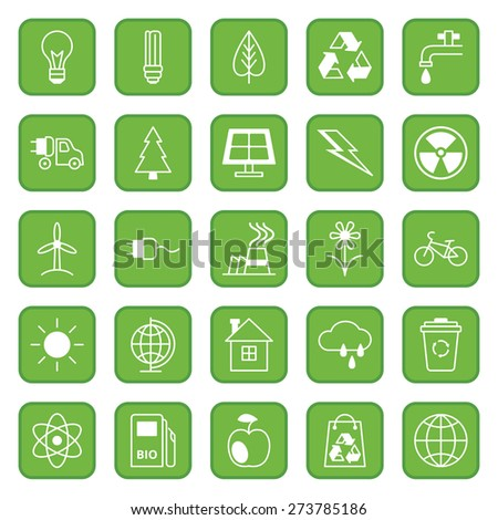 Set twenty five flat colored vector icons Ecology and Environment