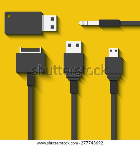 Set Usb cables and flash cards in flat style. Vector illustration - stock vector
