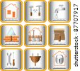 set useful tools for house and garden - stock vector