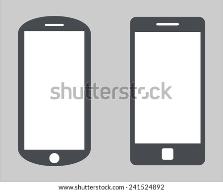 Set 1. Variety of modern black icon silhouette smartphone mobile tablet pc with blank screen isolated on white background. Vector illustration EPS 10 - stock vector