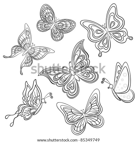 Set various butterflies, monochrome contours on a white background, vector - stock vector