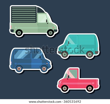 Set various city urban traffic vehicles icons. Delivery van, passenger bus, pickup car. Side view. Vector illustration. - stock vector