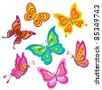 Set various color butterflies on a white background, vector - stock vector